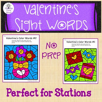 Valentines Coloring with Color Words