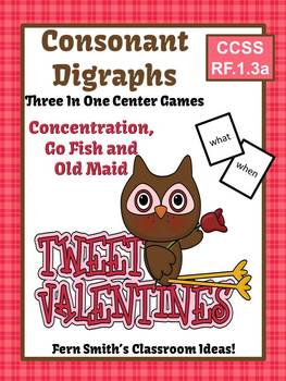 St. Valentine's Day Consonant Digraphs Center Games, Task Cards, and Printables