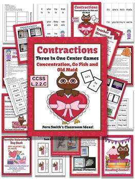 St. Valentine's Day Contractions Center Games, Task Cards, and Printables
