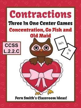 St Valentine's Day Contractions Center Games, Task Cards,