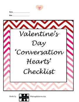 Valentines Conversation Checklist{autism,sped, social skil