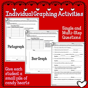 Valentines Conversation Heart Bar Graph and Pictograph Activity