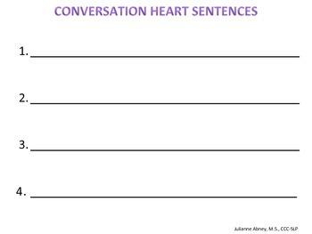 Valentine's Conversation Heart Speech/Language Activity