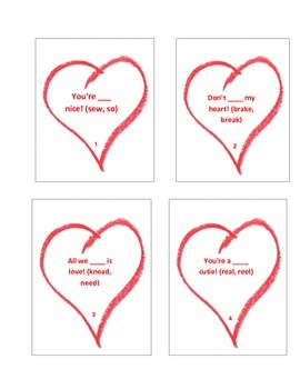 Valentines Conversation Hearts Homophones Task cards