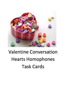 Valentines Conversation Hearts Homophones Task cards