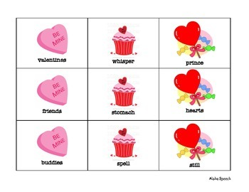Valentines Cookie Articulation Game for R and S