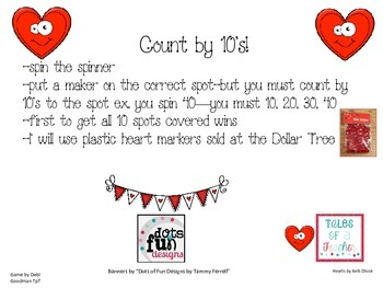 Valentine's Count By 10's Partner Game