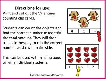 Valentines Counting Clip Cards (1-20)
