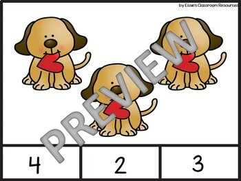 Valentines Counting Clip Cards 1-20