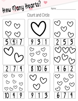 Valentines Counting Worksheet