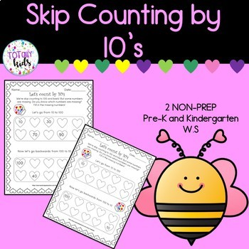 Valentines Counting by 10's Worksheet by TOTallykids | TpT