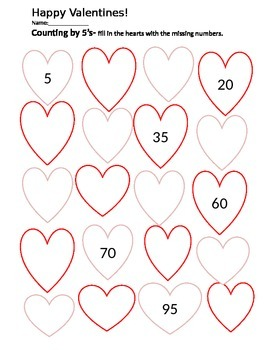 Valentines- Counting by 5's