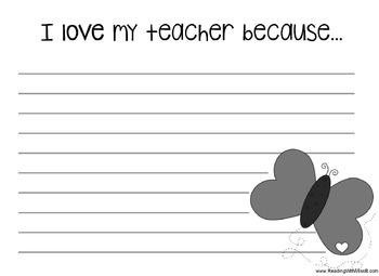 Valentine's Craftivity/Writing Project (Why I Love My Teacher)
