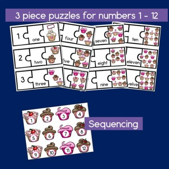 Valentines Cupcake Count Math Centers