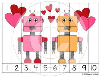 Valentines Cut & Paste Puzzle 1-10 FREEBIE