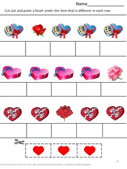 Valentine's Day Math & Literacy Unit Cut and Paste Worksheets No Prep Centers