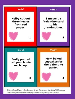 Valentine's Day Verbs Task Cards