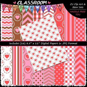Valentine's Day 1 - 16 CU 8.5x11 Digital Papers
