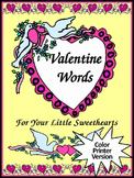 Valentine's Day Spelling Activities: Valentine Words Flash-card Set - Color
