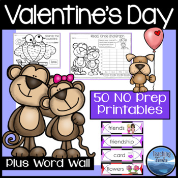 Valentine's Day Math and Language Activities Worksheets and Word Wall