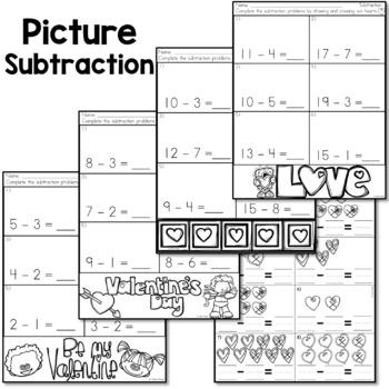 Valentine's Day Math - Subtraction Activities