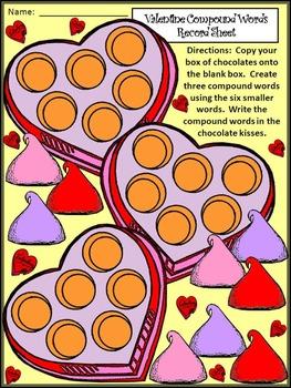 Valentine's Day Language Arts Activities: Valentine Compound Word Puzzles
