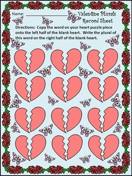 Valentine's Day Activities: Valentine Plural Noun Puzzles Language Arts Activity