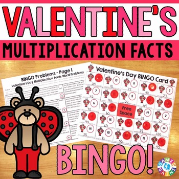 Valentine's Day Math Game: Multiplication Facts Word Problems Bingo