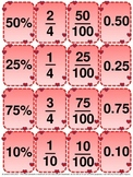 Valentine's Day Math Centers - Decimals, Fractions and Percent flashcards