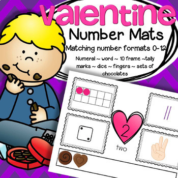 Valentine's Day Number Mats Center 0-12 plus Cut and Paste Booklet