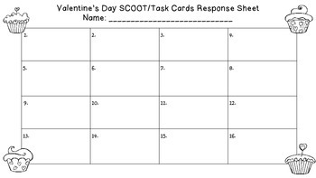 Valentine's Day 2 Digit Subtraction Task Cards
