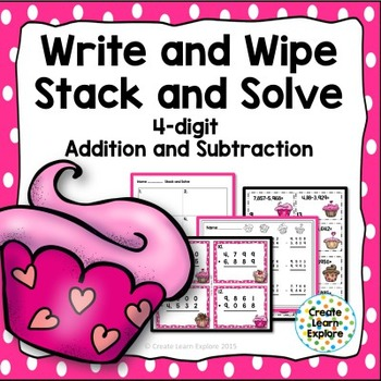 4-digit Addition and Subtraction with Regrouping Valentine's Day