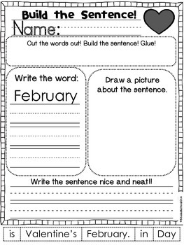 Valentine's Day Build the Sentence