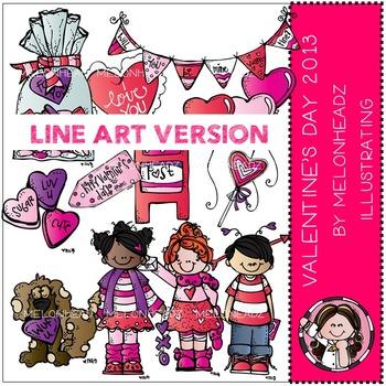 Valentines Day clip art 2013 - LINE ART - by Melonheadz