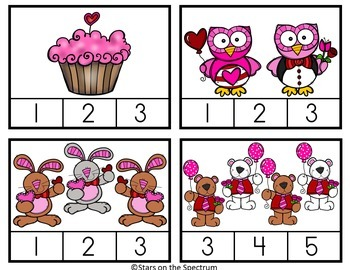 Valentine's Day Math Activities Counting Clip Cards