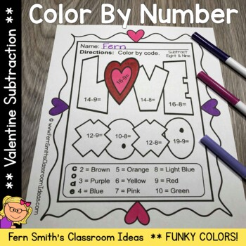 Color By Number St Valentine's Day Funky Valentines Subtraction