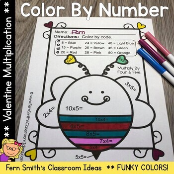 Color By Number St Valentine's Day Funky Valentines Multiplication