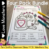 Color By Number St Valentine's Day Addition Subtraction Mu