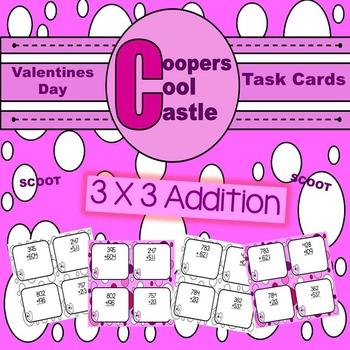 Valentines Day 3 X 3 Addition Task Card 32 Set
