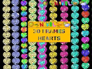 Glitter Frames - Hearts - Clip Art