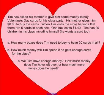 Valentine's Day 3rd or 4th grade Math Challenge Question