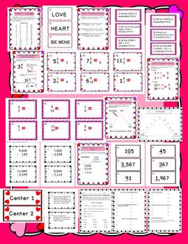 Valentine's Day 4th Grade Math Centers (6 centers complete with task cards)