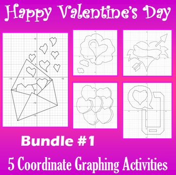 Valentine's Day - Bundle #1 - 5 Coordinate Graphing Activities