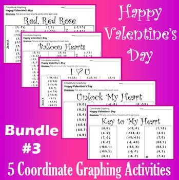 Valentine's Day - Bundle #3 - 5 Coordinate Graphing Activities