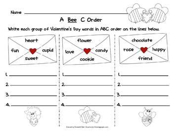 Valentine's Day A B C Order Activity