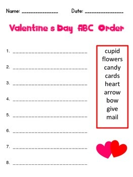 Valentine's Day ABC Order