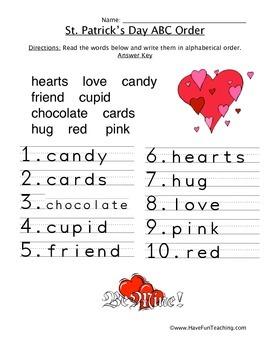 Valentine's Day ABC Order Worksheet