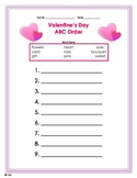 Valentine's Day ABC Order Worksheet - primary