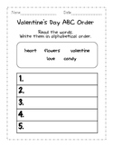Valentine's Day ABC order and Acrostic Poem