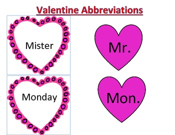 Valentines Day Abbreviations Matching Activity